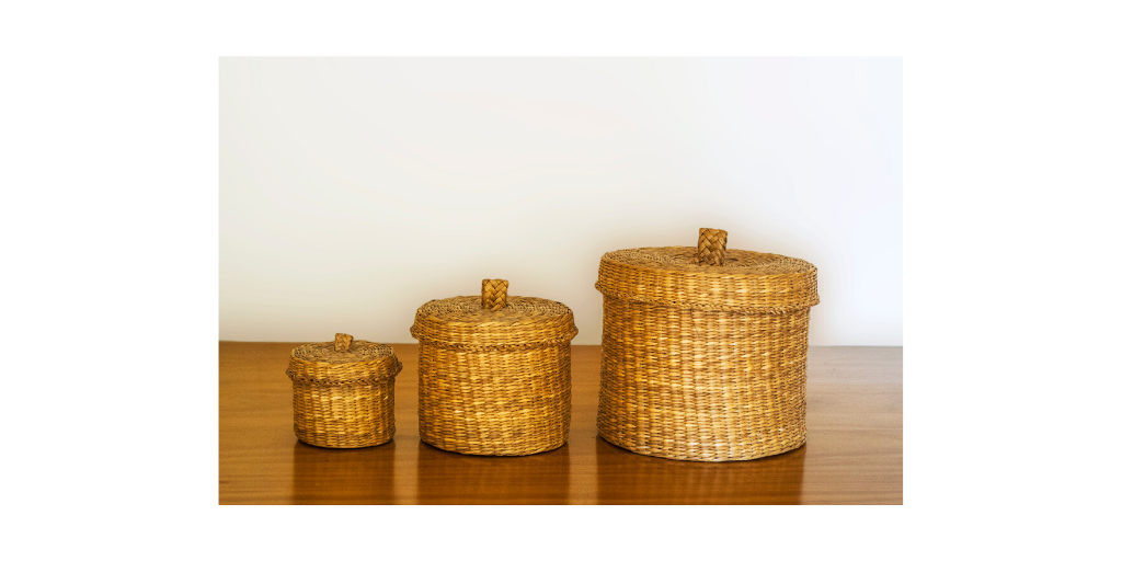 Kids Toy Storage | 3 wicker baskets with lids